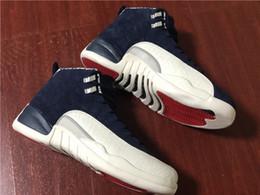 Mesh Fiber Australia - Newest 2018 12 International Flight 12S Tokyo Japan Basketball Shoes For Men College Navy 130690-445 Real Carbon Fiber Sneakers With Box