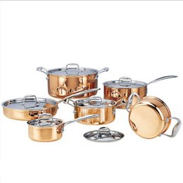 fry pans set NZ - High -Grade Copper 6 Pieces Lot Cooking Pots With Frying Pan Stainless Pot Hot Pot And Pans Cookware Set