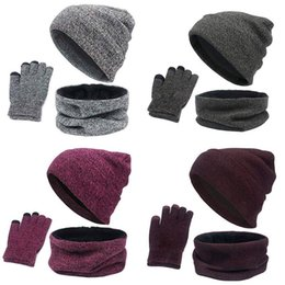 $enCountryForm.capitalKeyWord Australia - Kit 3PCS Set Women Hat Winter Knitted Cap Collar Gloves Soft Fleece Lined Warm Scarf Hat Outfits