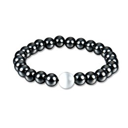 $enCountryForm.capitalKeyWord UK - Magnetic Black Stone Inlaid Pearl Bracelet Handmade Leather Braided String For Women Men Gift Support FBA Drop Shipping D407Q