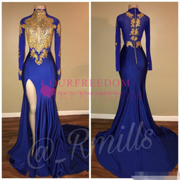 2018 Hot Sale Arabic Gold Appliques High Collar Prom Dresses Mermaid Vintage Long Sleeves Sexy High Thigh Split Black Girls Evening Gowns cheap custom pleated drapes from custom pleated drapes suppliers