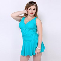 $enCountryForm.capitalKeyWord Canada - New Skirt Sweatshirt Squeezing Chest Solid Color One-Piece Swimsuit High Quality Conservative Plus Size Swimming Wear V-neck Sport Vest Swim