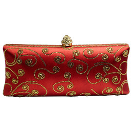 Chinese  Italian Red Clutch Wallet Purse Evening Clutch Bags for Womens Party Wedding Bridal Crystal Evening Bags Royal Blue Gold manufacturers