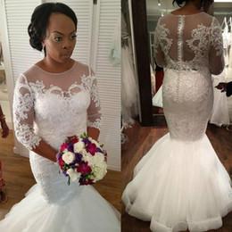 Yellow Gray Wedding Dresses Australia - Wedding Dress Half Sleeves Mermaid Wedding Gown Appliques Bride Dress Plus Size Wedding Dress vestido de noiva