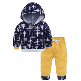 $enCountryForm.capitalKeyWord NZ - Boy 2 pcs. for newborns autumn baby for little boys line pattern Tops t-shirt with hood + yellow pants clothing set 0-24M