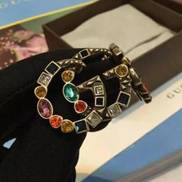 Ingrosso New fashion high-end selvatici signore colore strass lettere orecchini clip orecchio regalo decorazione del partito