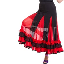 Red Indian Costumes UK - Whitewed Long Flamenco Ballroom Waltz Tango Indian Dance Skirt Costume Long Full Circular Flamenco Ballroom Dance Performance Dancewear