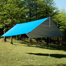 Discount portable canopies - Norent high quality ultralight Portable awning outdoor Camping beach Hiking Canopy large Size Silver Coating tarp sun sh