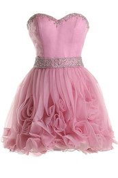 $enCountryForm.capitalKeyWord UK - 2019 Sexy Sweetheart Mini Short Women Homecoming Dresses Pink Satin Tulle Waist Beaded Sash Floral Skirts Cocktail Gowns Backless Prom Dress