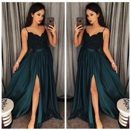 $enCountryForm.capitalKeyWord NZ - Arabic Dark Green Dresses Evening Wear 2018 Spaghetti Straps Lace Appliques Side Split A Line Formal Prom Party Dress Pageant Gowns