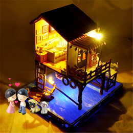 Toys music house online shopping - T Yu C3 Z Summer Sunset Sky DIY Doll House With Cover Music Light Gift Collection Decor Toy