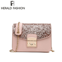 Chain Strap Messenger Bag Canada - Herald Fashion Women Sequined Messenger Bag Quality Leather Women's Flap Bag Chain Strap Female Shoulder Lay Crossbody Bags