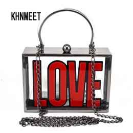 Discount totes bags metal handles - Fashion Red Love Letter Clear  Transparence Clutch Bag Metal frame 7a7247d4866e