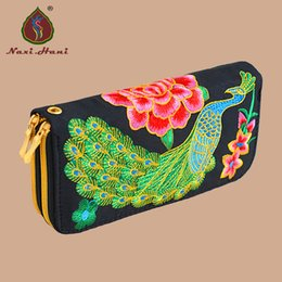 Wholesale Ethnic high capacity double zipper peacock Embroidery Women Long Wallet retro Casual canvas coin Purse Clutch phone bags