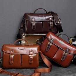 $enCountryForm.capitalKeyWord Australia - wholesale PU Leather Vintage Camera Shoulder Messenger Travel Bag Insert Fit Canon Nikon D7200 D3400 D810 Pentax Sony DSLR SLR