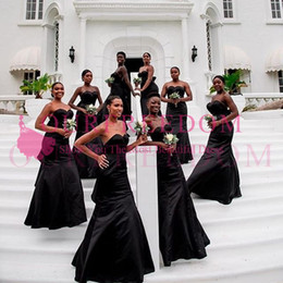 Black Mermaid Style Wedding Gowns NZ - 2019 Black Mermaid Boho Bridesmaid Dresses Sweetheart Neck Elastic Stain South Africa Style Maid Of Honor Wedding Guest Gown Custom Made