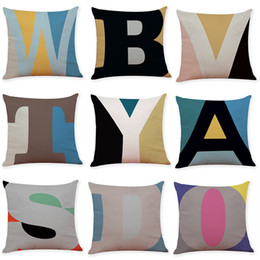 alphabet cushions pillows Canada - English Alphabet Linen Cushion Covers Home Office Sofa Square Pillow Case Decorative Pillow Covers Without Insert (18*18Inch)