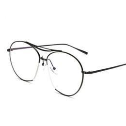 4cc5704825fc 2018 hot Retro Double Beam Metal Women Eyeglasses Frame Men Big Frame Clear  Lens Glasses Female black fake eyewear goggle