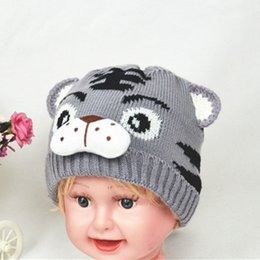 Baby Boy Skull Crochet Beanies Australia - Fashion Autumn Winter Children Knitted Hat Animal Tiger Pattern Beanie Newborn Baby Kids Keep Warm Boy Girl Crochet Cap
