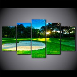 $enCountryForm.capitalKeyWord Australia - 5 Pcs Canvas Wall Art Pictures Home Decor Framework Spring Golf Course Paintings For Living Room HD Prints Abstract Posters