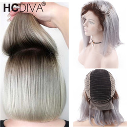 black women dark blonde hair 2019 - 1B Grey Dark Root Blonde 13*4 Lace Front Human Hair Wig With Baby Hair Ombre Brazilian Remy Human Wig 130 Short Bob Wig