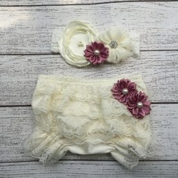 Diaper Bloomer Set NZ - 4 Colors Baby Girl Ruffle Bottom Lace Bloomer & Headband Set for Newborn Photo Set Diaper Cover