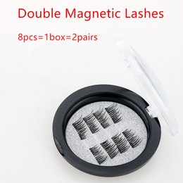 best synthetic eyelashes Australia - 8pcs=1box=2pairs Best quality Double Magnetic Lashes 3D Mink Reusable Fasle Eyelash Without Glue free Shipping by epacket