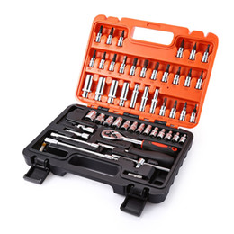 53pcs Automobile Motorcycle Car Repair Tool Box Precision Ratchet Wrench Set Sleeve Universal Joint Hardware Tool Kit For Car on Sale