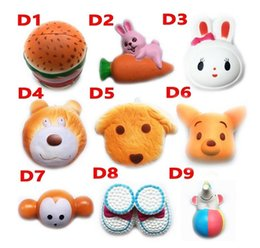 Wholesale Squishy Doll hamburger rabbit dog bear squishies Slow Rising cm cm cm cm animale Soft Squeeze Cute Strap Stress Relief Toy