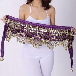 $enCountryForm.capitalKeyWord NZ - Women Sweet Bellydance Hip Scarf With Gold Coins Skirts Wrap Noisy Egyptian Belly Dancing Hand Crocheted Beads Velvet Belt