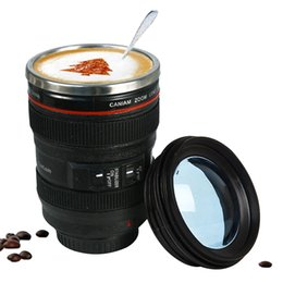 Discount novelty gift mugs - 400ml Stainless Steel Camera Lens Mug With Lid New Fantastic Coffee Mugs Tea Cup Novelty Gifts Caneca Lente Cups Drinkwa