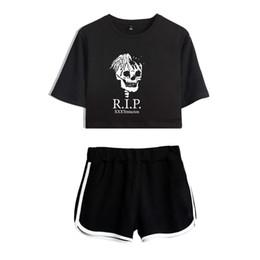 Koreans females suit online shopping - Xxxtentacion summer dew navel female suit Korean casual sweatshirt short sleeved T shirt shorts print cartoon Xxxtentacion