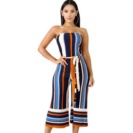 4c2382ed9d5 2018 AUTUMN Women sexy Strapless Off Shoulder Striped High Waist Wide Leg  Calf-Length Pants Jumpsuit tunic party romper overalls