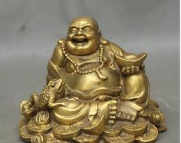 $enCountryForm.capitalKeyWord Australia - Chinese Brass Wealth Golden Toad Spittor Happy Laughing Maitreya Buddha Statue