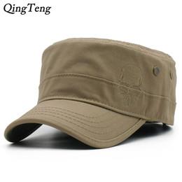 b7fe4f3549f Men Baseball Caps Skull Embroidered Logo Flat Top Hats Cotton Snapback Flat  Cap Army Cadet Hat Women Gorros Hombre Hip Hop
