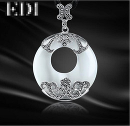 $enCountryForm.capitalKeyWord NZ - EDI 4.5*3.5 CM Vintage Jade Stone Donut Large White Opals Pendant Necklace For Women 925 Sterling Silver Pendant Retro Jewelry