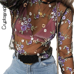 20e04de44ea Wholesale-Elegant Chic floral embroidery mesh t shirt sexy perspective crop  top casual summer 2017 t-shirts for women short cropped shirts
