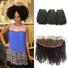 Woven Hair Australia - 3pcs Kinky Curly Human Hair Weave Bundles With Lace Frontal Closure Free Part Virgin Curly Hair 8-30inch LaurieJ Hair