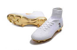 new styles 93a20 b052c Real Football Boots UK - Original White Gold Real Madrid Soccer Cleats  Mercurial Superfly FG Soccer