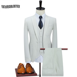 Discount blue dress pants for wedding party - (Blazer+Vest+Pants) Solid White Wedding Tuxedos For Men Light Blue Slim Fit Mens Suits With Pants Party Dress Stage Wear