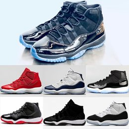 3c8317d9050eed 2018 New Prom Night Mens 11 11s Basketball Shoes Iridescent UNC Gym Red  Space Jam 45 Black Out Concord Sports Sneakers Size 36-47