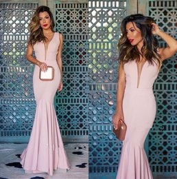 399febf583 2018 V Neck Satin Mermaid Long Evening Dresses Cut Out Backless Floor  Length Formal Party Prom Gowns