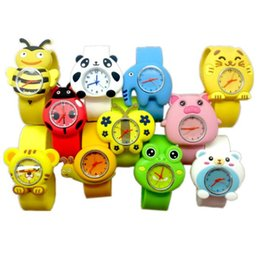 China Fashion Kid Slap watches Flower Monkey Ribbit Frog Children Wristwatch Silicone band Cute Cartoon Snap Slap Outdooor student watch cheap wholesale flower frogs suppliers