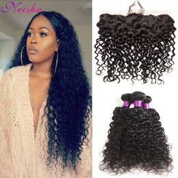 Human Hair Pc Closure NZ - 8A Brazilian Virgin Hair Brazilian Water Wave 3 Pcs With Frontal Closure Wet and Wavy Human Hair Wave 3 Bundles With Pre Plucked Frontal
