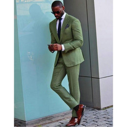 ivory linen suit UK - New Arrival Green Linen 2 Suit Style For Man Clothes Peaked Lapel Groom Tuxedos Groomsman Suit Tailored Man Suit Summer suits (jacket+pant)