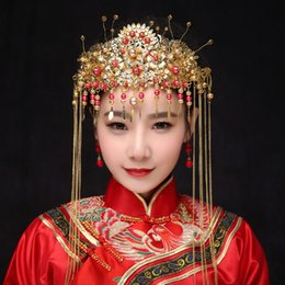 Coronet Hair Australia - AINILIDAN Chinese Traditional Classical Bridal Jewelry Headdress Coronet Crystal Hair Accessories Imitation Pearl Tassels Crown C18110801