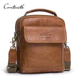 09c56f3799d0 CONTACT S Genuine Leather Shoulder Bags Fashion Men Messenger Bag Small ipad  Male Tote Vintage New Crossbody Bags Men s Handbags