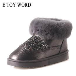 Wholesale E TOY WORD Bling Faux Fur Winter Snow Boots Sweet Cute Style Ankle Boots Women Warm Cotton Shoes Flat Slip On