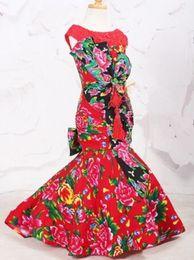 Red Birthday Dresses Australia - Free shipping Red Chinese style Mermaid Trumpet Mermaid Trumpet Jewel Sweep Brush Flower Bowknot Hand Made Flower Dress Birthday partyWeddi