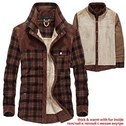 7f6864e88 YIHUAHOO Camisa de invierno de los hombres Grueso cálido forro de piel de  terciopelo de terciopelo Casual Camisa de vestir de algodón Ropa de hombre  Camisa ...